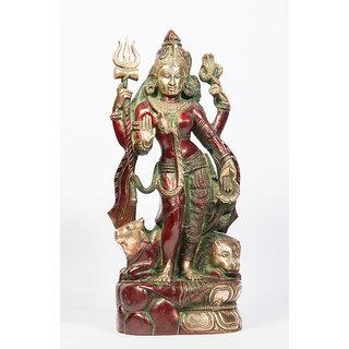 Arihant Craft Hindu God Shiva Idol Ardhanarishwar Statue Sculpture Hand Work Showpiece  33.5 cm (Brass, Red, Green)