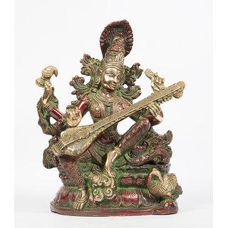 Arihant Craft Hindu Godess Saraswati Idol Sarasvati Statue Sculpture Hand Work Showpiece  28.5 cm (Brass, Red, Green)