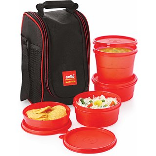 Cello Max Fresh Super Lunch 4-Red