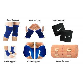 Multicolor Gym Combo of Knee Support Ankle Support Palm Support Elbow Support Wrist Band Crepe Bandage