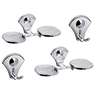 Aiken Stainless Steel Robe Hook And Double Soap Dish Bathroom Accessories Set of 4 Piece
