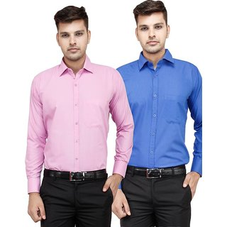 TOKYO TRENDZ COMBO OF BLUE AND PINK  MEN'Z TWO STYLISH FORMAL SHIRTS