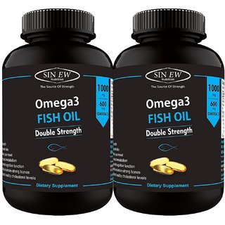Sinew Nutrition Double Strength Fish Oil 1000mg (300EPA  200DHA), 60 Softgels (Pack of 2)