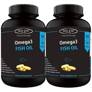 Sinew Nutrition Fish Oil 500mg (150EPA 100DHA) 60 Softgels (Pack of 2)