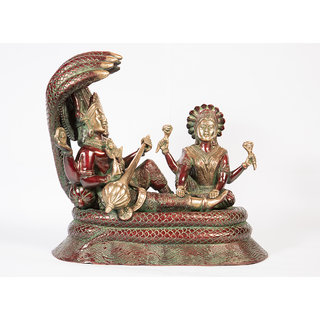Arihant Craft Hindu God Lakshmi Narayan Idol Vishnu Statue Sculpture Hand Made Showpiece  30.5 cm (Brass, Red, Green)