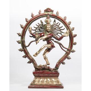 Arihant Craft Hindu God Shiva Idol Natraj statue Tandav Sculpture Hand Crafted Showpiece  32 cm (Brass, Red, Green)