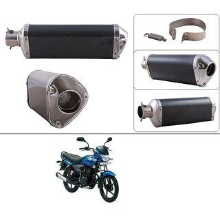 AutoStark Triangle Carbon Finish Silencer Muffler Exhaust Silver for Bajaj  Platina