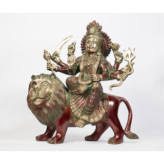 Arihant Craft Hindu Goddess Durga Idol Sherawali Statue Kali Sculpture Hand Work Showpiece  28 cm (Brass, Red, Green)