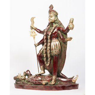 Arihant Craft Hindu Goddess Durga Idol Sherawali Statue Kali Sculpture Hand Work Showpiece  35 cm (Brass, Red, Green)