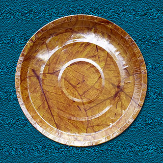 CALIBER Paper Plate 120 GSM 11 Inches Yellow Saal Patta Printed In Paper Board Pack Of 20 Pieces