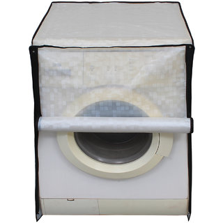Glassiano Off White Colored Washing Machine Cover For Fully Automatic Front Load 7 Kg to 7.5 Kg Model