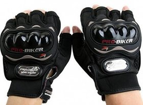 SNR Pro Biker Full Sports Driving Gloves (FREE SIZE BLACK)