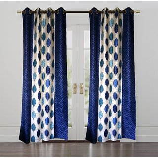 Nayaab Polyester Blue Biege Floral Door Curtains. (7 feet in Height, Set of 2)
