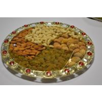 Indianuts Designer Swastik Tray Filled With Dry Fruits