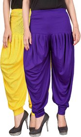 Culture the Dignity Yellow,Blue Lycra Dhoti Pants