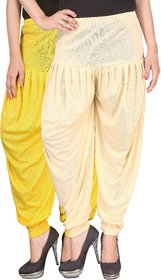 Culture the Dignity Yellow,Cream Lycra Dhoti Pants