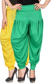 Culture the Dignity Yellow,Green Lycra Dhoti Pants