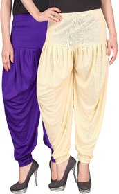 Culture the Dignity Blue,Cream Lycra Dhoti Pants