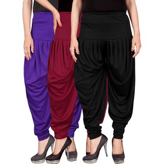 Culture the Dignity Blue,Maroon,Black Lycra Dhoti Pants