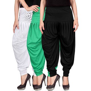 Culture the Dignity White,Green,Black Lycra Dhoti Pants