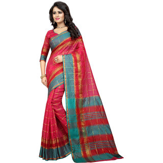 Bhuwal Fashion Pink Polycotton Striped Saree With Blouse