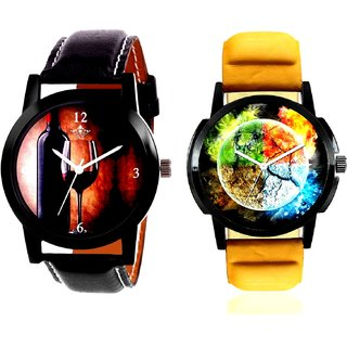 Stylish 3D Designer And Wine Glass Luxury Style Analog Men's Combo Wrist Watch