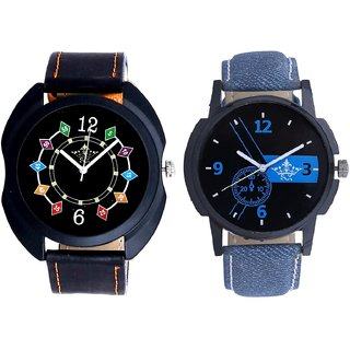 Attractive Blue Dial And Fancy 3D Chain Look SCK Men's Combo Wrist Watch