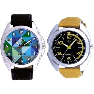 Fancy Yellow Sports Strap Dial And Royal Sky Colour Art Analog Men's Combo Wrist Watch