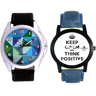 Men Power Of Positive Thinking And Royal Sky Colour Art Analog Men's Combo Wrist Watch