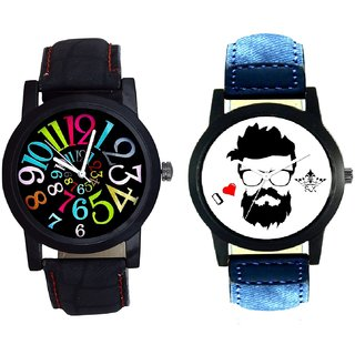 I Love Rock And Spanish Special Colour Digit SCK Men's Combo Wrist Watch