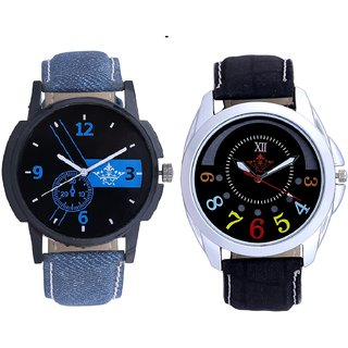 Attractive Blue Dial And Classical Black Round Dial Analog SCK Combo Watch -For Men