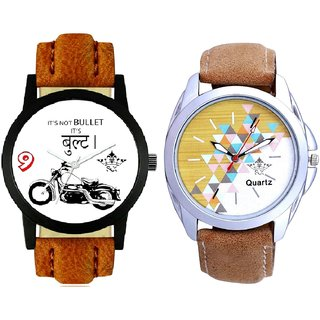 Royal Bullet And Attractive Design Brown Belt SCK Analogue Combo Watch