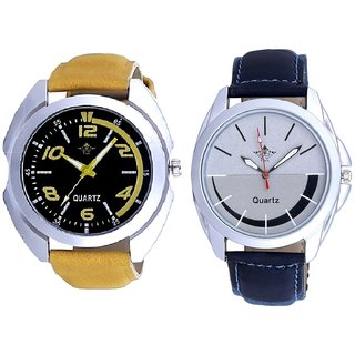 Fancy Yellow Sports Strap Dial And Royal Silver Black Dial Analog SCK Combo Watch -For Men