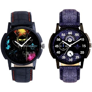 Latest Blue Round Dial  And Elegant 3D Designer SCK Men's Combo Watch