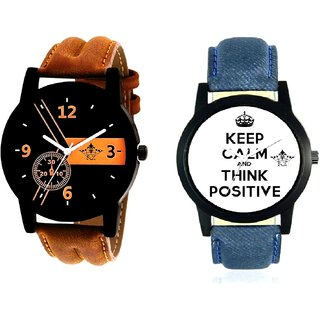 Men Power Of Positive Thinking And Luxury Brown Leather Strap Analogue SCK Men's Combo Watch