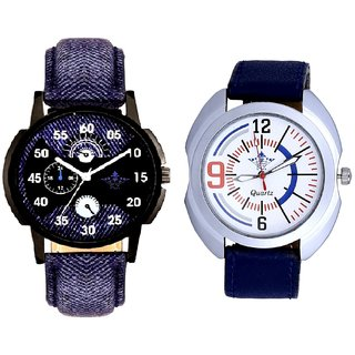 Latest Blue Round Dial  And Blue Sport Leather Strap SCK Combo Gallery Wrist Watch