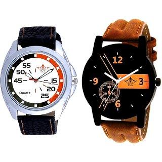 Luxury Brown Leather Strap And Orange Black Multi Dial SCK Men's Combo Wrist Watch