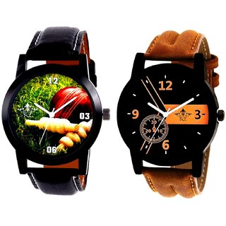 Luxury Brown Leather Strap And Cricket Super Design Analog SCK Combo Watch -For Men