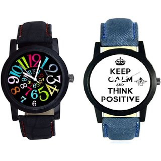 Men Power Of Positive Thinking And Spanish Special Colour Digit SCK Men's Combo Wrist Watch