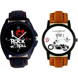 Royal Bullet And I Love Rock N Roll Print Dial SCK Combo Analogue Watch