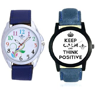 Men Power Of Positive Thinking And Colouring Flowers Analog Men's Combo Wrist Watch