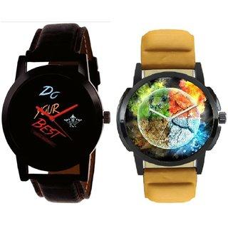 Stylish 3D Designer And Do Your Best Multi Colour SCK Men's Combo Wrist Watch