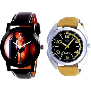 Fancy Yellow Sports Strap Dial And Wine Glass Luxury Style Analog Men's Combo Wrist Watch