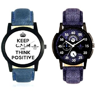 Men Power Of Positive Thinking And Latest Blue Round Dial SCK Combo Gallery Wrist Watch