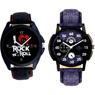 Latest Blue Round Dial  And I Love Rock N Roll Print Dial SCK Combo Analogue Watch