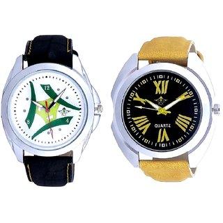 Roman Digits Special Design And Luxury Green Tri Fan SCK Men's Combo Wrist Watch