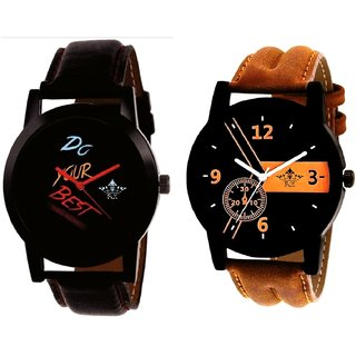 Luxury Brown Leather Strap And Do Your Best Multi Colour SCK Men's Combo Wrist Watch