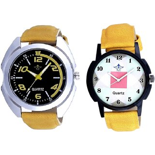 Fancy Yellow Sports Strap Dial And Luxury Square Design SCK Analogue Combo Watch