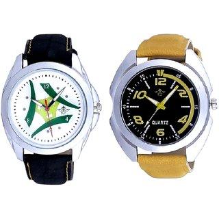 Fancy Yellow Sports Strap Dial And Luxury Green Tri Fan SCK Men's Combo Wrist Watch