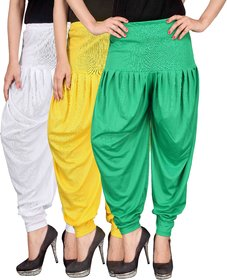 Culture the Dignity White,Yellow,Green Lycra Dhoti Pants